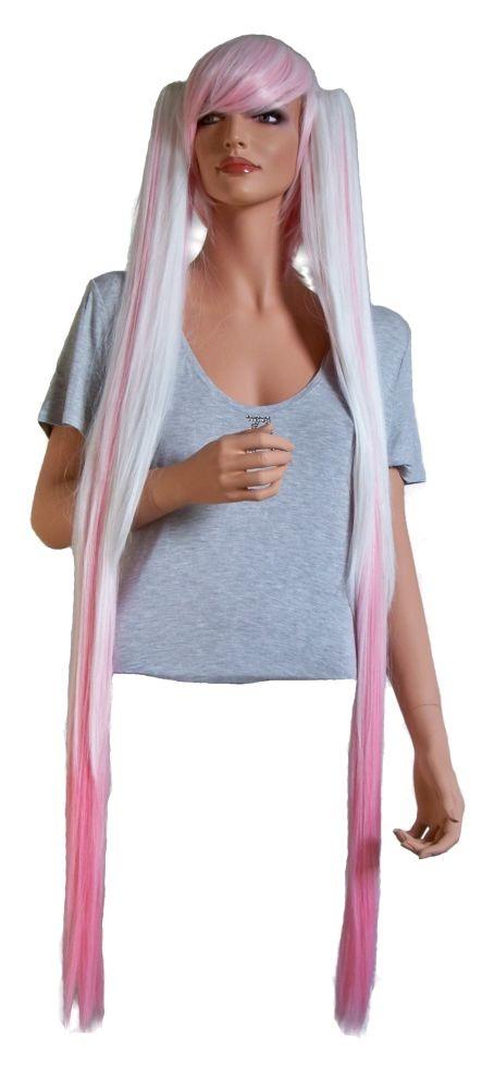 Cosplay Perücke in Weiss und Pink mit 2 Haar-Clips 110 cm 'CP004'