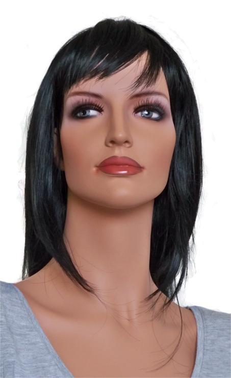 Damen Perücke in einem natürlichen Schwarz 45 cm 'B007'