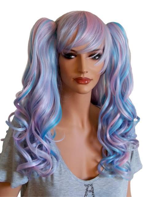 Manga Perücke mit zwei Haarspangen lockiges Haar Rosa und Blau 'CP023'