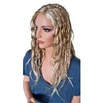 Extravagante Perücke gelockt für Frauen Hellblond mit Platin Blond 60 cm 'BL013'