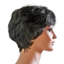 Perücke Echthaar für die reife Dame kurze Haare Schwarz mit Anteil Grau 'B006'
