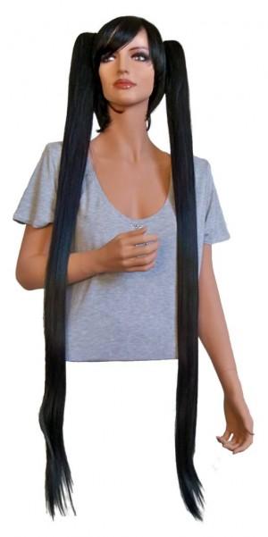 Cosplay Perücke schwarz mit zwei Haarspangen 110 cm 'CP018'