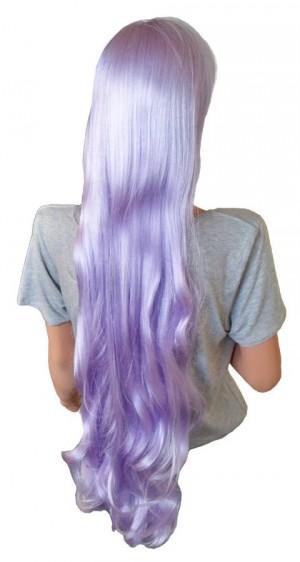 Manga Perücke gewellte Haare silber-violett 105 cm 'CP022'