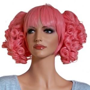 Rosa Perücke für Cosplay mit 2 lockigen Haar Clip Ins 'CP005'