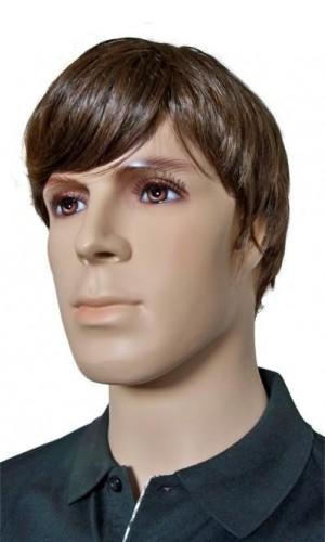Männer Perücke Kurzhaarschnitt braunes Haar 'M001'