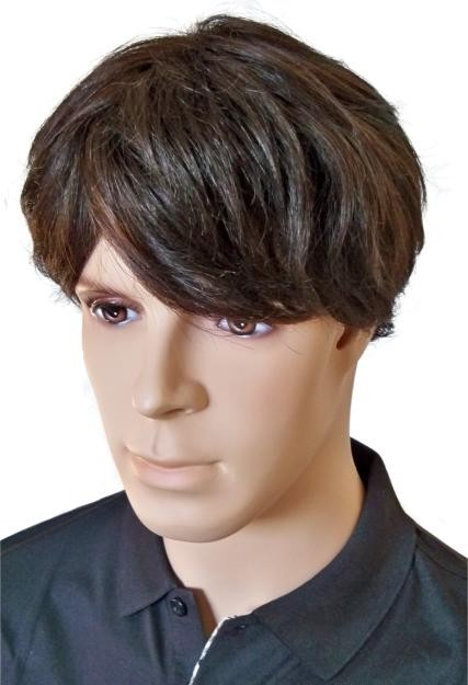 Mens Short Wig Brown Human Hair 'M002'