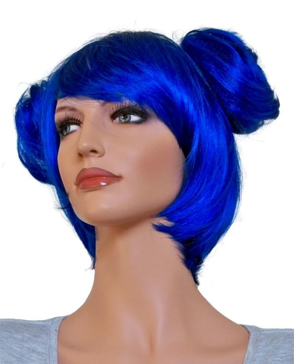 Blue Cosplay Wig with 2 Clip-In Buns 'CP008'