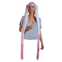 Cosplay Wig in White and Pink with 2 Straight Hair Clips 110 cm 'CP004'