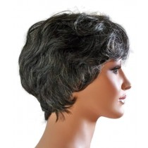 Human Hair Lady Wig Short Hairstyle Black with Grey 'B006'