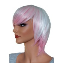 Short Cosplay Wig White with Pink  'CP003'