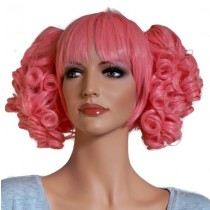 Pink Wig for Cosplay with 2 Curly Hair Clips 'CP005'