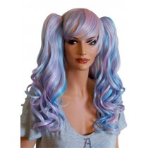 Manga Wig Curly Hair Pink and Blue with 2 Clips 'CP023'