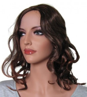 Woman Wig with Curls 'BR008' Dark Brown Root tipped with Medium Auburn 40cm