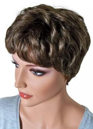 Human Hair Wig Short Hair for Women Brunette Mix 'BR014'