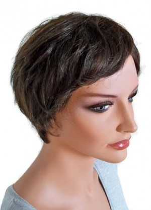 Human Hair Wig for Ladies Short Hairstyle Brown 'BR015'