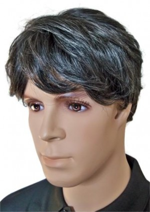 Male Wig Human Hair Black with Grey 'M004'