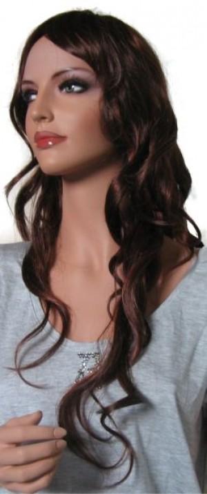 Woman Curly  Wig 'BR007' Dark Auburn with Copper Red 60cm