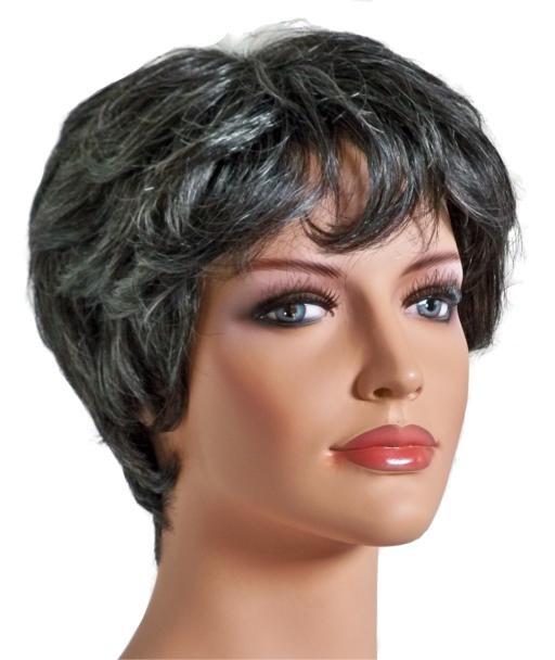 Peruka Pani Włosów Ludzkich Krótkie Fryzury Czarne Z Szarym