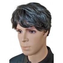 Męska Peruka Włosów Ludzkich Czarne z Szarym 'M004'