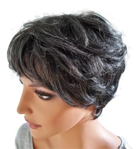 Bayan Peruk Insan Saçı Kısa Saç Modeli Gri Ile Siyah B006 Peruk