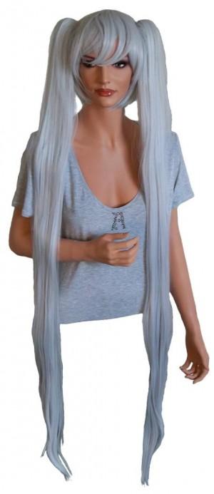 Cosplay peruca gri argintiu cu 2 agrafe de par 130 cm 'CP024'