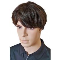 мъже кратко перука кафяв човешки коси 'M002'