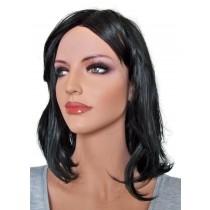 перука на изкуствена коса черен 40 cm 'B008'